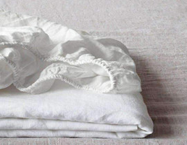 pre-washed white linen cotton fitted sheet