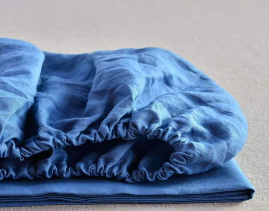Dyed 55%  linen 45% cotton fitted  sheet