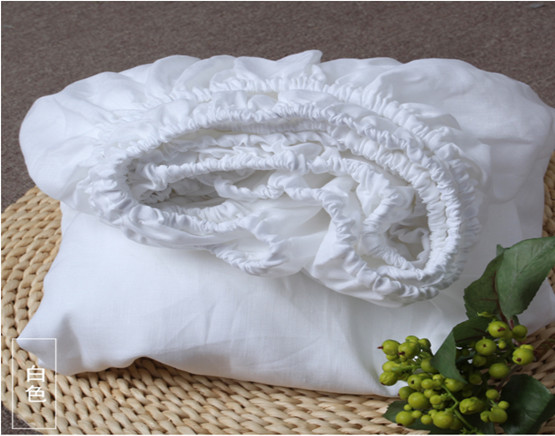White Pure Linen Fitted Sheet