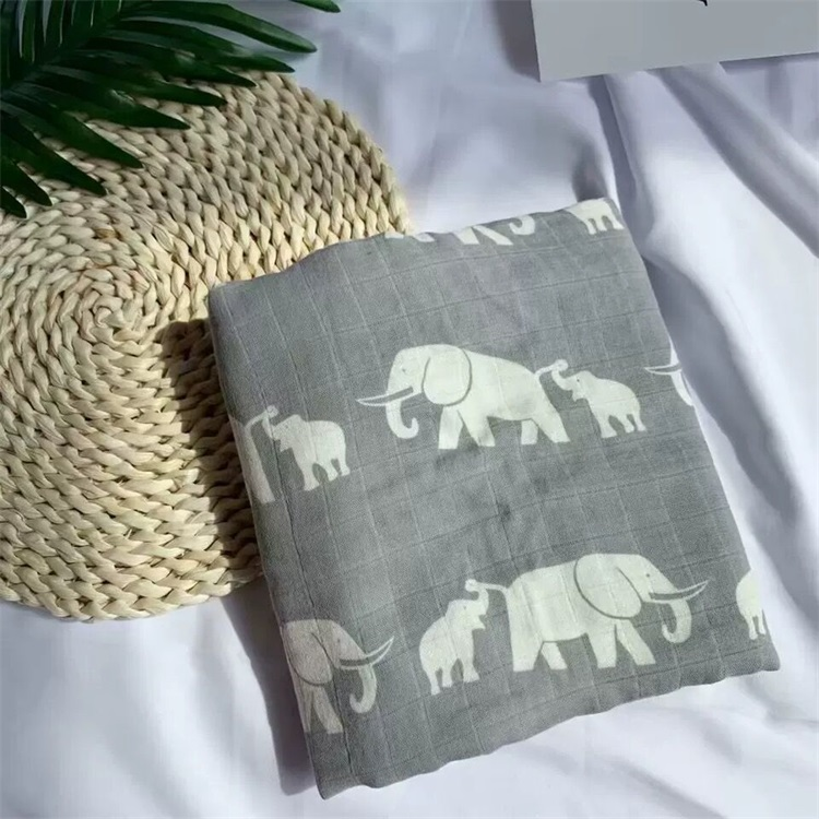 Newborn Breathable Elephant Plain Organic 70%Bamboo 30%Cotton Muslin Swaddle Baby Blanket